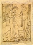 Edward Burne-Jones (Edward Burne Jones) (1833-1898)  Pygmalion and the Image - Study for Pygmalion fashioning the Image  Pencil on tracing paper, 1867  121 mm x 90 mm  Birmingham Museums and Art Gallery, Birmingham, United Kingdom